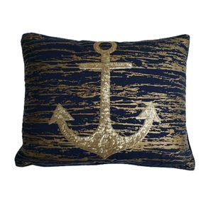 Anchor Accent Blue Gold Sequin Nautical Pillow